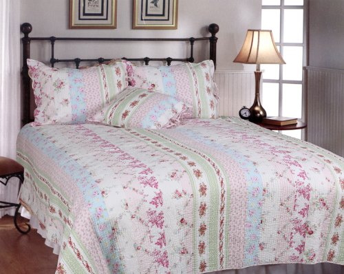 [Pink Rosary] 100% Cotton 3PC Classic Floral Vermicelli-Quilted Quilt Set (King Size)