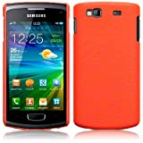 Orange Textured Style Pu Leather Hard Back Case Cover For Samsung Wave 3 S8600 PART OF THE QUBITS ACCESSORIES RANGE
