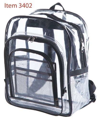Clear Backpacks. Extra large see through bag. Size 17 high x 13.5 wide ...