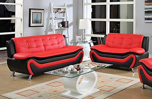 Elia 2 piece Modern Living Room Black and Red Faux Leather Sofa set