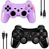 Double Vibrating Wireless Controller for PS3 With Charge Cable (Black+Purple)