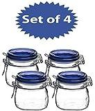 Bormioli Rocco Fido Square Jar with Blue Lid, 17-1/2-Ounce