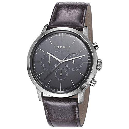 Esprit Soter - Reloj de cuarzo para hombre, correa de cuero color negro