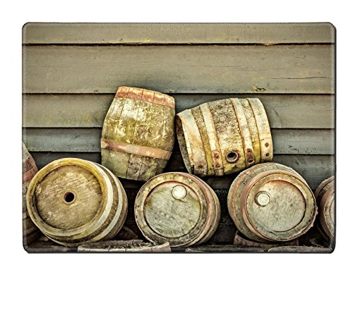 Luxlady Placemat Kitchen Table 15.8 x 12 x 0.2 inches retro styled image of a stack of vintage wooden beer barrels IMAGE 28361866 Customized Art Home Kitchen