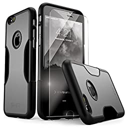 iPhone 6 Case, for iPhone 6s 6 (Gray Black) SaharaCase Protective Kit Bundled with [ZeroDamage Tempered Glass Screen Protector] Rugged Slim Fit Shockproof Bumper Hard PC Back Protection Case