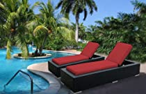 Hot Sale Ohana Collection pn7023rd Outdoor Patio Wicker Furniture 2-Piece Chaise Lounge Set, Red