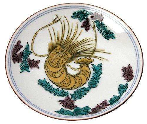 kutani-kutani-overglaze-enamels-old-bean-plate-shrimp-mobun-mc-16-japan-import