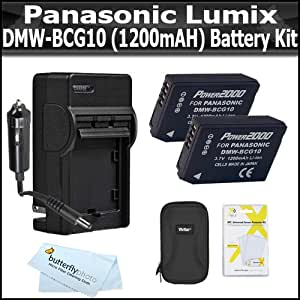 2 Pack Battery Kit For Panasonic Lumix DMC-ZS7 DMC-ZS10, DMC-ZS8, DMC-ZS9 DMC-3D1 DMC-ZS20 DMC-ZS15, DMC-ZS25, DMC-ZS25K Digital Camera Includes 2 Replacement DMW-BCG10 Battery + Charger + Case + More
