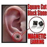 Black Onyx Pair of Square Cut Magnetic Earrings #30