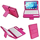 Bestek Bluetooth Keyboard Case with Auto Sleep Wake for Apple iPad Mini 3rd Gen / iPad Mini 2 with Retina Display / iPad Mini (Rose red)