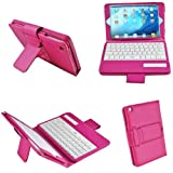 BESTEK 3 in 1 combo ipad mini 2, ipad mini bluetooth wireless keyboard + cover + stand, with built in rechargeable lithium battery BTBK029-rose red (cover with latch strap)