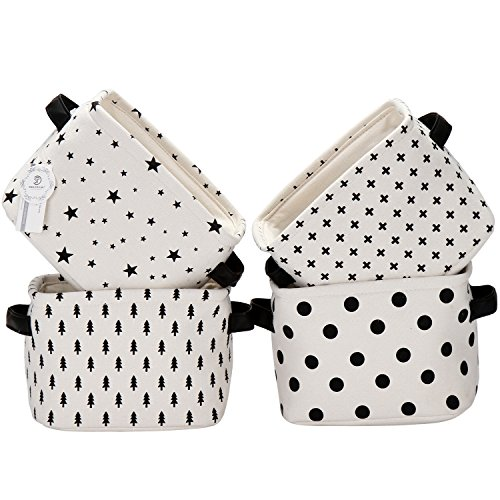 Sea Team Foldable Mini Square New Black and White Theme 100% Natural Linen & Cotton Fabric Storage Bins Storage Baskets Organizers for Shelves & Desks - Set of 4 (Storage Baskets Small compare prices)