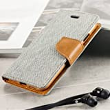 Cool & Creative Covers For Samsung Galaxy A9 Pro Flip Cover Dairy Wallet Case (Canvas Series) (Grey)