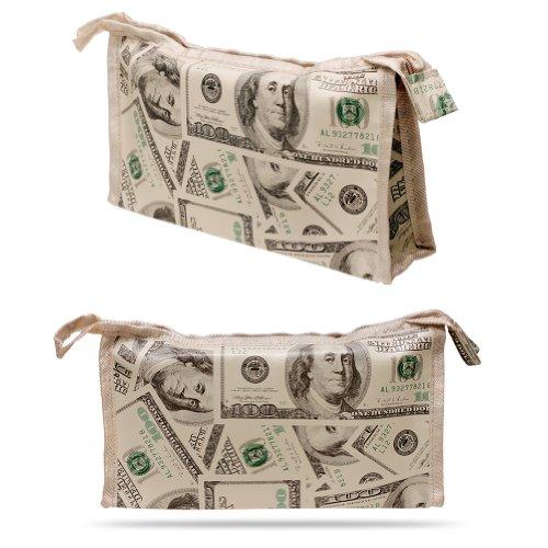 $100 Dollar Bill Benjamin Money Pattern Multi Purpose Zipper Closure Cosmetic Bag