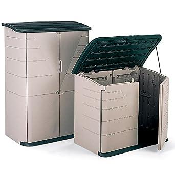"""Indoor/Outdoor Plastic Storage Shed - 60""""Wx31.9""""Dx47""""H - Sandstone Shed/Olive Lid"""