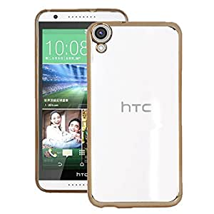 Heartly Golden Border Soft TPU Ultra Thin 0.3mm Clear Transparent Flexible Slim Back Case Cover For HTC Desire 820 820Q 820S - Hot Gold
