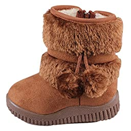 Toddler Baby Boy\'s Girl\'s Snow Boot Flat Pom Pom Winter Warm Shoes Ankle Booties (1-7 Years Children)