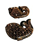 Pindia Set Of 2 Medium Small Wooden Fish Design Wall Key Holder