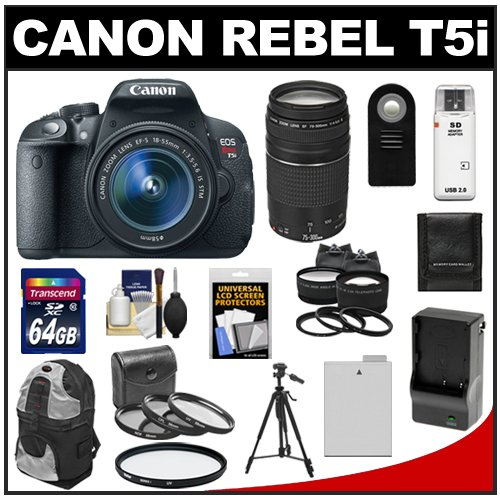 Canon Eos Rebel T5I Digital Slr Camera & Ef-S 18-55Mm Is Stm Lens With Ef 75-300Mm Iii Lens + 64Gb Card + Battery + Backpack + Tele/Wide Lenses + Accessory Kit