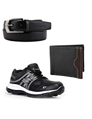 Elligator Black & White Stylish Sport Shoes With Belt & Wallet For Men's