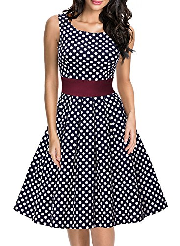 Miusol Women's Cut Out Vintage Polka Dot Optical Illusion Bridesmaid Swing Dress (X-Large, Navy Blue)