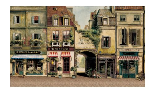 York Wallcoverings Europa Ii Paris Cafe Prepasted Mural, Earthy Browns/Stone Gray/Red/White/Black front-573682