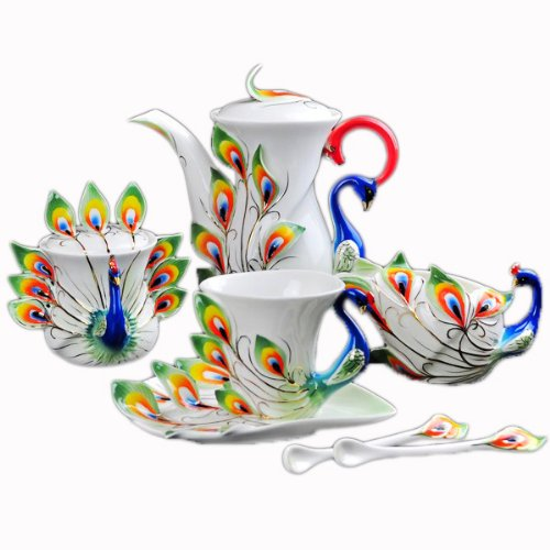 Choholete Porcelain Gorgeous Peacock Coffee Mug Set Tea Set Pot 21-Piece Green