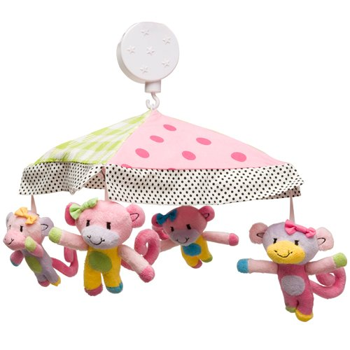 Kids Line Little Miss Matched Monkey Musical Mobile - 1