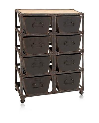 UMA 51868 Metal Wooden Cabinet, Brown, 29x41x12