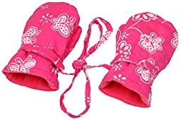 Baby Girls Fleece Mittens Pink Butterfly Small