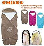 Emitex MULTI - Spring / Summer / Autumn -- NO UNTHREADING of Seat Belts -- Swaddling Wrap, Car Seat and Pram Blanket, Universal for Car Seat (e.g., Maxi-Cosi, Römer, etc.), for Pram, Buggy or Baby Bed -- BROWN