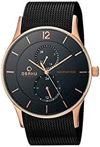 Obaku Men's Quartz Stainless Steel Dress Watch, Color:Black (Model: V157GMVBMB)