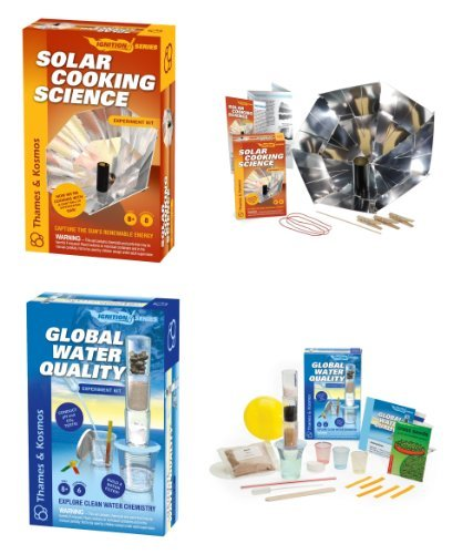 Thames & Kosmos 659226/659288 Solar Cooking and Global Water Quality Science Experiment Kits with Coloring Book