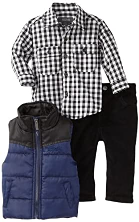 Kenneth Cole Baby-boys Infant Puffy Vest with Shirt and Jean, Navy, 12 Months