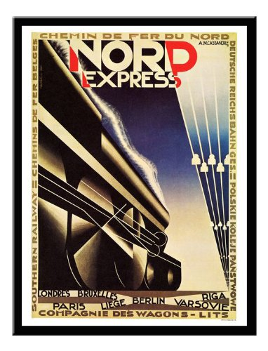 Nord Express Art Deco Travel Print Magnetic Memo Board Black Framed - 41 x 31 cms (Approx 16 x 12 Inches)