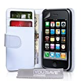 "Apple iPhone 3 / 3G / 3GS Tasche Wei� Ledertasche Brieftasche H�lle Mit Displayschutzvon ""Yousave Accessories�"""