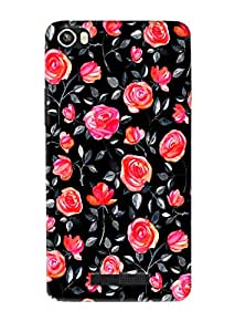Omnam Red Rose With Black Effect Printed Designer Back Cover Case For Lava Iris 8x