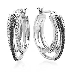 0.75 Carat (ctw) Sterling Silver Black & White Round Diamond Ladies Hoop Earrings 3/4 CT