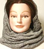 Dark Grey Chenille Heavy Winter Balaclava Neck Warmer Hood Scarf