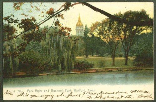 Park River Bushnell Park Hartford Ct Undivided Back Postcard 1909