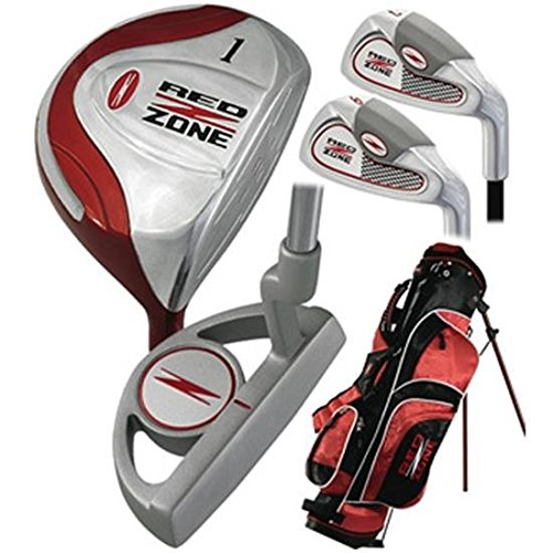 Merchants of Golf Black/Red 5-Piece Red Zone Golf Set/Stand Bag (Ages 12 and Up), Regular, Right Hand, Graphite