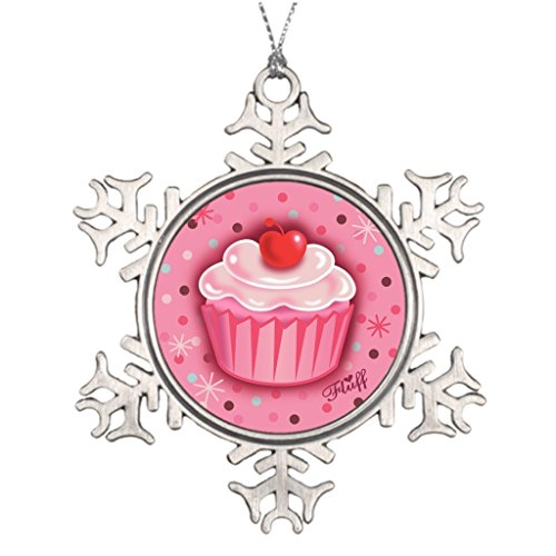 [IcanLY Xmas Trees Decorated Cupcakes Wedding Snowflake Ornaments One size] (Cute Halloween Decorated Cupcakes)