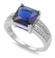 Sterling Silver Polished Ring with Blue Sapphire Cubic Zirconia Stone - 3mm
