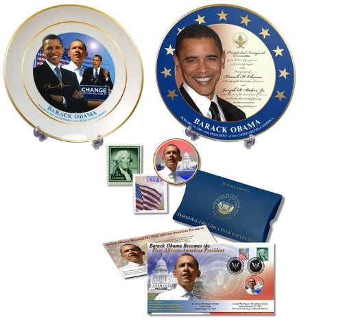 Barack Obama Commemorative Plates and First Day Cover Coin Set