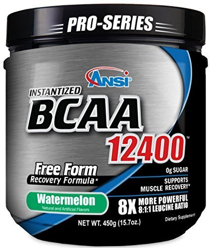 ANSI Instantized BCAA 12400 Powder (450g) - 8X more powerful 8:1:1 Leucine Formula - Watermelon by ANSI