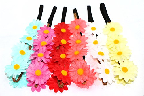 MSHUI Hippies Sun Flower Garland Crown Festival Hair Wreath Floral Headband Set