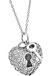 Sterling Silver Round Cubic Zirconia*Key-Heart*Pendant Necklace 18 Inches Silver Chain SPJ