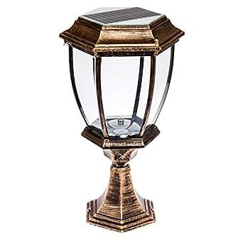 solar 12 led outdoor garden lamp column post topper light bronze
