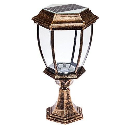Solar 12 Led Outdoor Garden Lamp Column Post Topper Light, Bronze