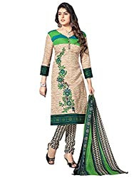 Kanchnar Women's Beige Mix Cotton Printed Casual Wear Dress Material,Diwali Great Indian Festival sale Traditional Clothing for Girls,Navratri Special Collection,Gift to Wife,Mom